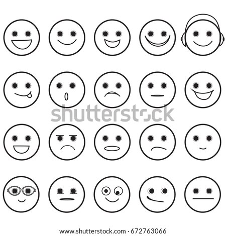 Outline Hand Drawn Smiley Faces Basic Stock Vector