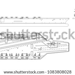 Aircraft Carrier Diagram Stem And Leaf Questions Outline Image Military Ship Stock Vector Royalty Of Top Front Side View