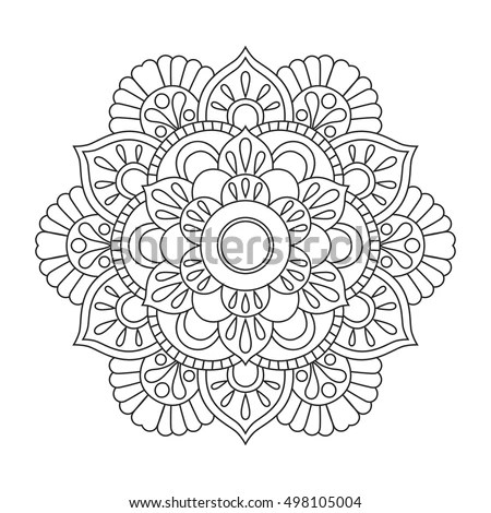 Outline Mandala Coloring Book Antistress Therapy Stock