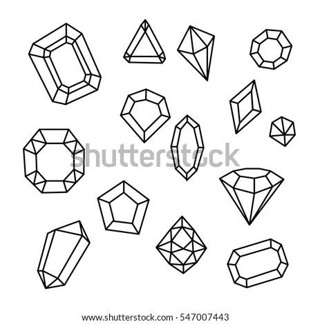 Outline Modern Thin Line Style Gemstones Stock Vector