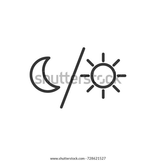 Outline Moon Sun Icon Illustration Vector Stock Vector