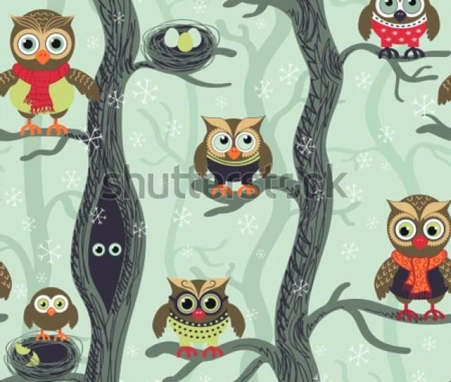 Owls In Winter Seamless Pattern Seamless Christmas Pattern In Scandinavian Style Owls On A