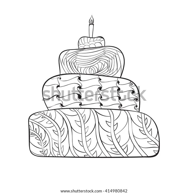 Page Adult Coloring Book Zentangle Birthday Stock Vector