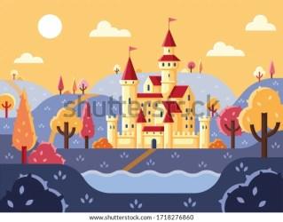 Panorama Castle Fairytale Landscape Castle Fantastic Stock Vector Royalty Free 1718276860