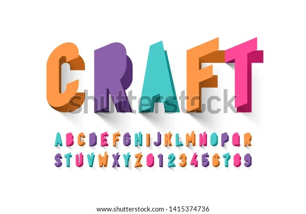 Paper Craft Style Font Design Alphabet Stock Vector Royalty Free 1415374736