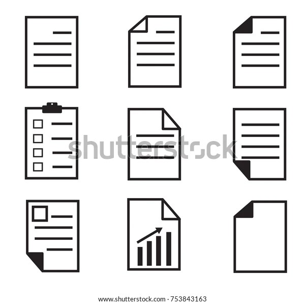 Paper Icon On White Background Set Stock Vector (Royalty