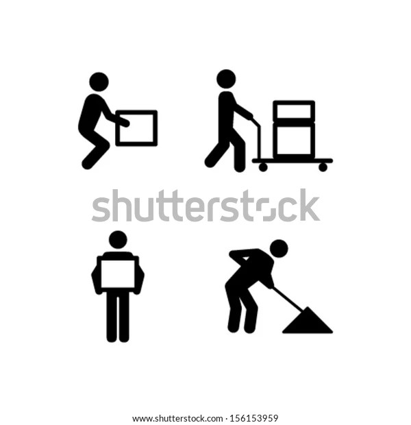 People Icons Manual Work Postures Stock Vector (Royalty