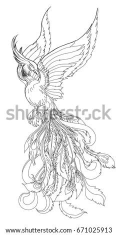 Phoenix Fire Bird Outline Doodle Style Hand Stock Vector