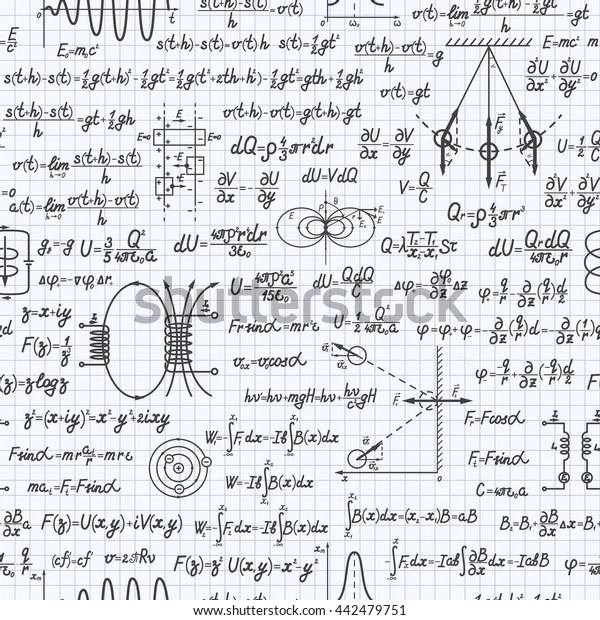 Physical Vector Seamless Pattern Formulas Equations Stock
