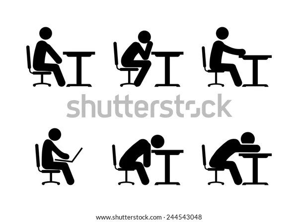 Pictogram Businessman Student Working On Computer Stock