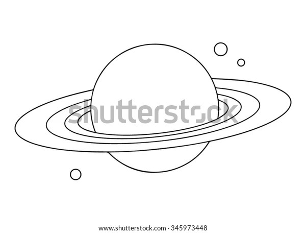 Planet Saturn Rings Outline Stock Vector (Royalty Free