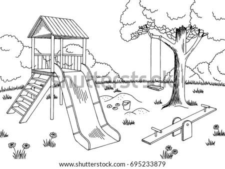 Playground Graphic Black White Landscape Sketch Stok