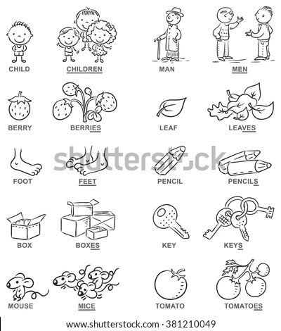 Plural Nouns Cartoon Pictures Black White Stock Vector