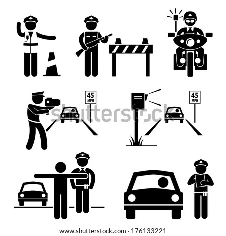 Police Officer Traffic On Duty Stick Stock Vector (Royalty