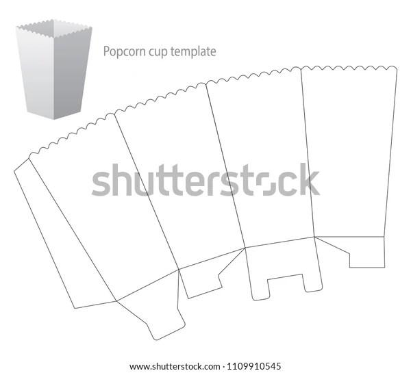Popcorn Box Template Draw Vector Illustration Stock Vector
