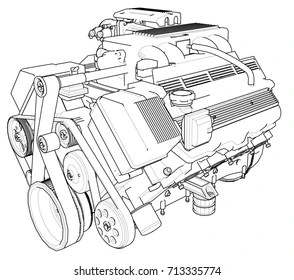 Car Engine Line Drawing Images, Stock Photos & Vectors
