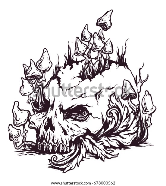 Print Psychedelic Mushrooms Growing On Skull Stock Vector