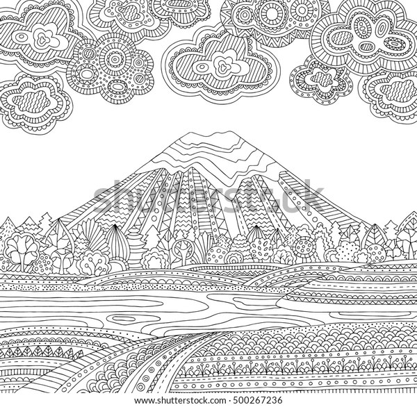coloring pages printable mountains and trees # 45