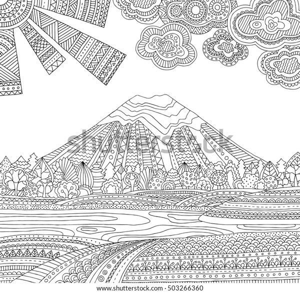 coloring pages printable mountains and trees # 18