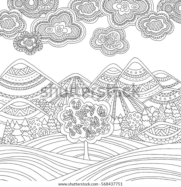 coloring pages printable mountains and trees # 15