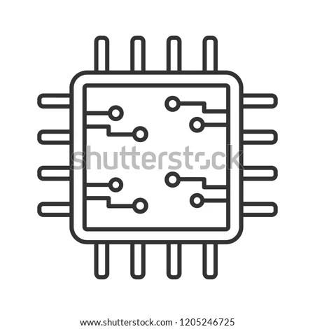 Processor Electronic Circuits Linear Icon Microprocessor
