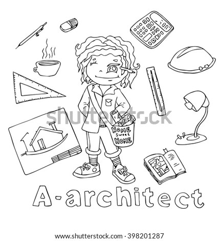 Professions Architect Alphabetical Order Cartoon Hand