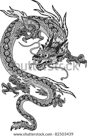 Psychedelic Handdrawn Huge Detailed Chinese Dragon Stock