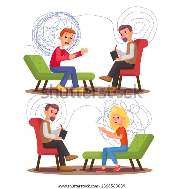 Vector de stock (libre de regalías) sobre Psychiatry Psychology Professional Consultation Vector Illustration1366563059