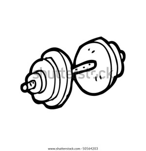 quirky drawing dumbbell