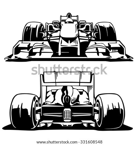 Racing Car Formula 1 Front Back Stock Vector (Royalty Free
