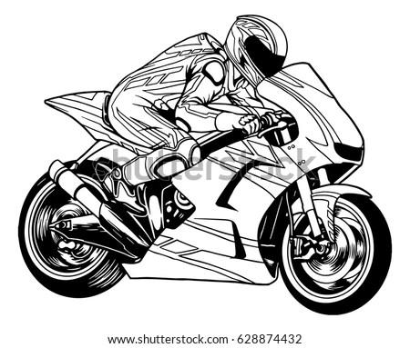 Racing Motorcycle Black White Stock Vector (Royalty Free