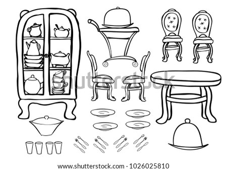Ready Print Vector Coloring Page Furniture Vector de stock