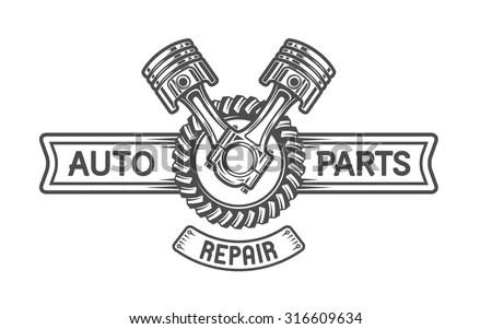 Immagine vettoriale a tema Repair Service Gear Pistons