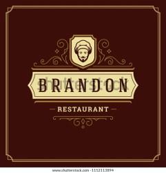 restaurant template chef vector illustration menu typography emblem badge silhouette cafe face