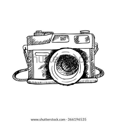 Retro Photo Camera Hand Drawing Illustration Vector de