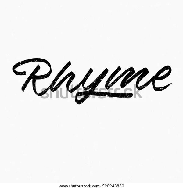 Rhyme Ink Hand Lettering Modern Brush Stock Vector