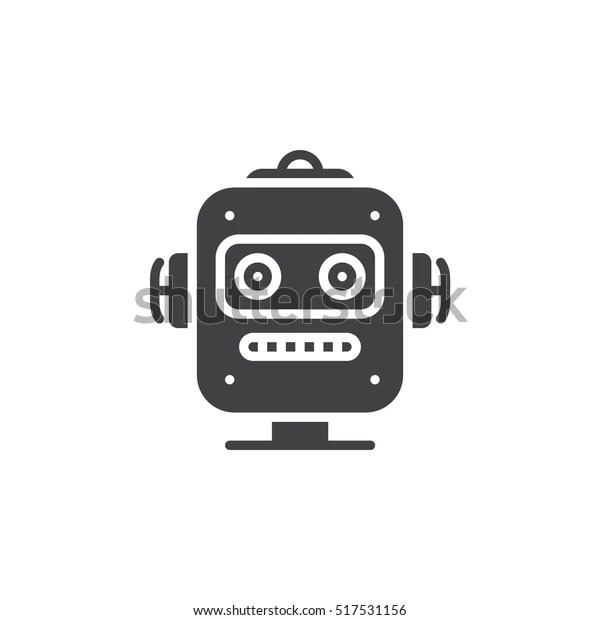 Robot Head Icon Vector Filled Flat Stock Vector (Royalty