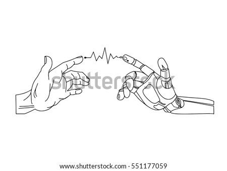 Robot Human Hands Handshake Stock Vector (Royalty Free