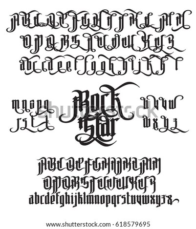 Rock Star Modern Gothic Style Font Stock Vector (Royalty