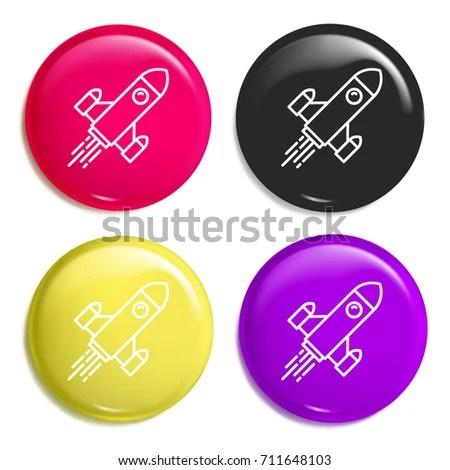 real rocket ship diagram triumph t120 wiring multi color glossy badge stock vector royalty free icon set realistic shiny or logo mockup