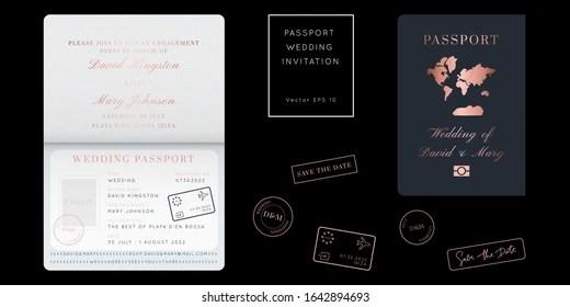 https www shutterstock com image vector rose gold foil destination wedding passport 1642894693
