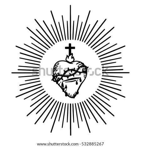 Sacred Heart Jesus Isolated Vector Illustration Stock