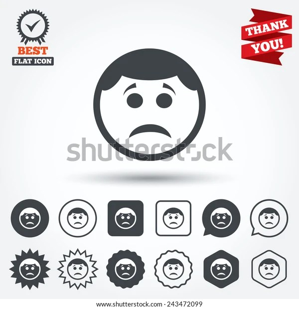 Sad Face Sign Icon Sadness Depression Stock Vector