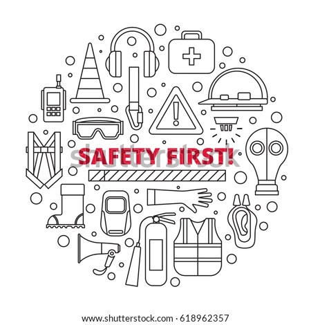 Safety First Equipment Supplies Vector Illustration Stock