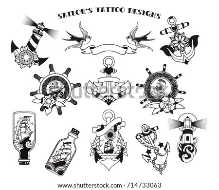 Sailors Tattoo Designs Stock Vector (Royalty Free