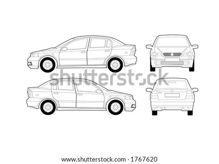 Saloon Car Diagram Vector de stock (libre de regalías