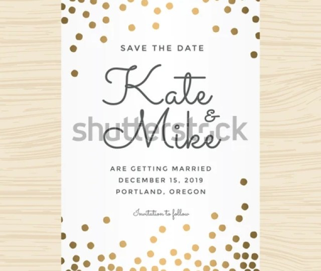 Save The Date Wedding Invitation Card Template With Golden Color Circle Background Vector Illustration