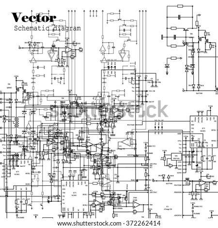 Schematic Diagram Project Electronic Circuit Graphic 스톡 벡터