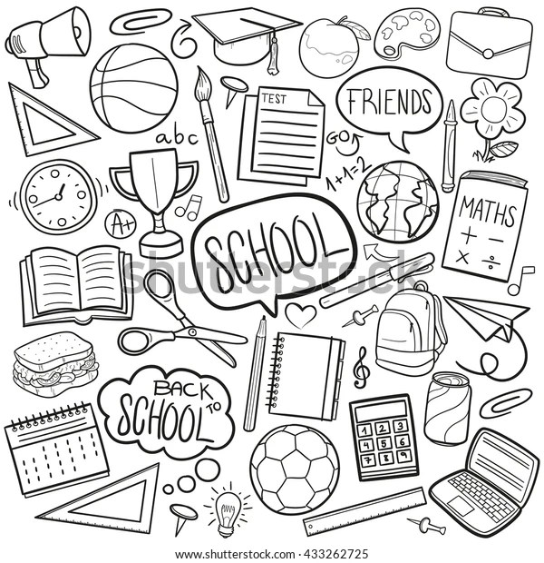 School Day Doodle Icons Hand Made Stock Vector (Royalty