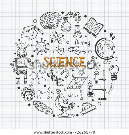 Science Education Doodle Set Biology Mathematics Stock